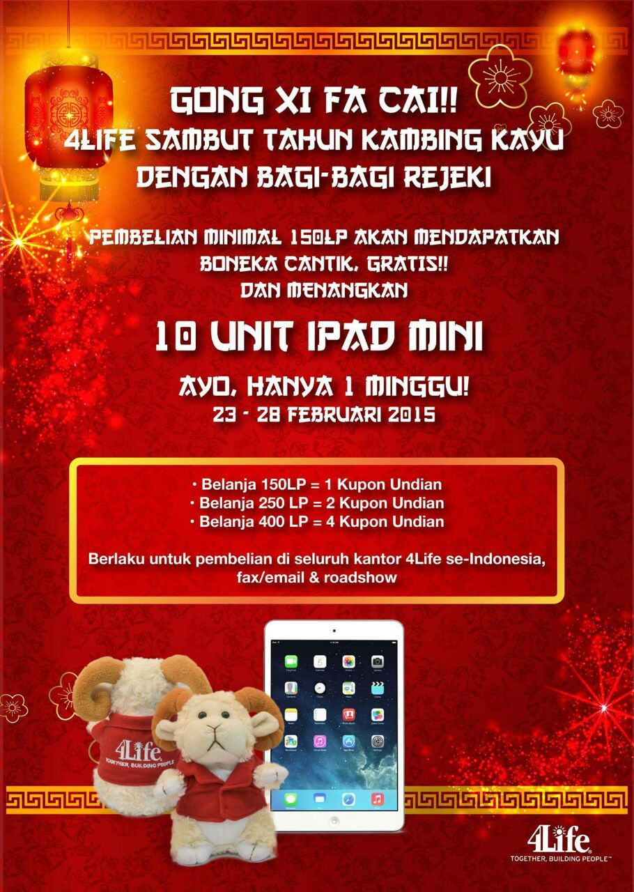 Paket Promo Chinese New Year 2015 4Life Transfer Factor, TF Glucoach, TF Belle Vie, Get 10 Ipad Mini 2015, Promo Imlek 2015, Transfer Factor 4Life Targeted Glucoach, Transfer Factor 4Life Targeted Belle Vie