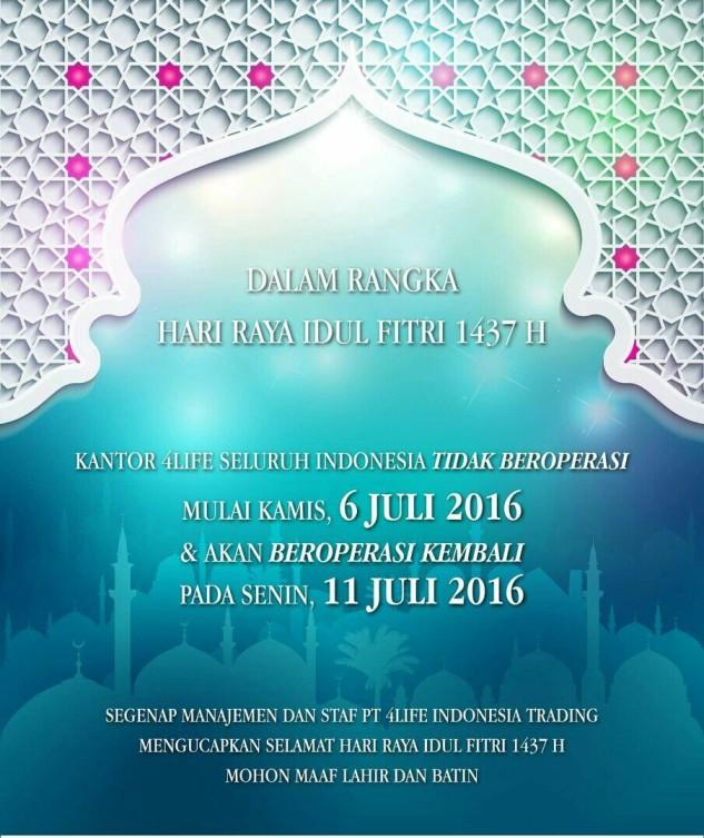INFO TANGGAL TUTUP KANTOR 4LIFE TRANSFER FACTOR INDONESIA SELAMA LEBARAN 2016